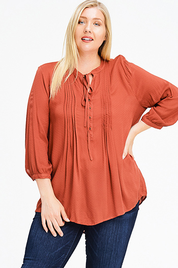 $15 - Cute cheap ruffle boho blouse - plus size rust orange tie front quarter length sleeve button up boho peasant blouse top