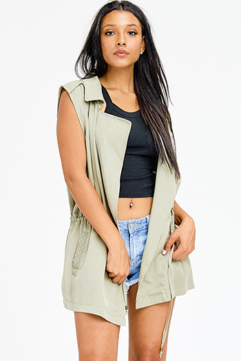 $20 - Cute cheap army olive green zip up banded crop bomber jacket top - plus size sage olive green tie waist embroidered pocketed waterfall open front cargo trench vest