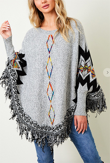 $19.50 - Cute cheap fall - plus size sweater poncho with Rainbow Aztec pattern.