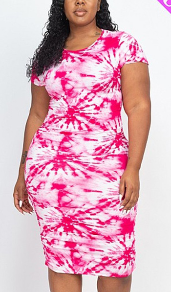 $19.50 - Cute cheap plus size tie-dye printed dress