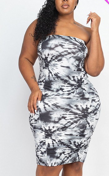 $18.75 - Cute cheap plus size tie dye ruched shirring dress