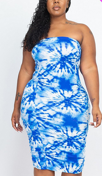 $18.75 - Cute cheap plus size tie dye ruched shirring dress size 1xl 2xl 3xl 4xl onesize - plus size tie dye shiring dress
