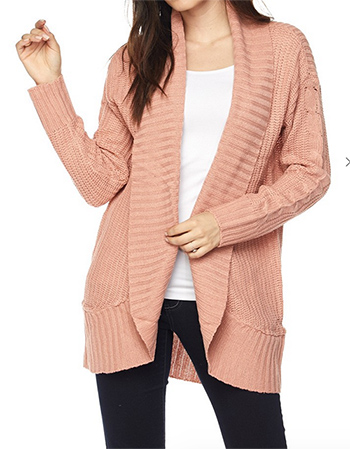 $25.00 - Cute cheap mauve pink long tie sleeve banded waisted keyhole back boho crop blouse top - plus size waffle knit long sleeve open front pocketed boho sweater cardigan