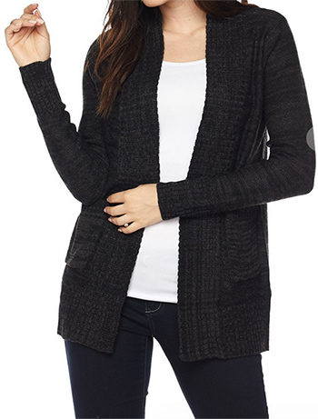 $25 - Cute cheap plus size waffle knit long sleeve open front pocketed boho sweater cardigan