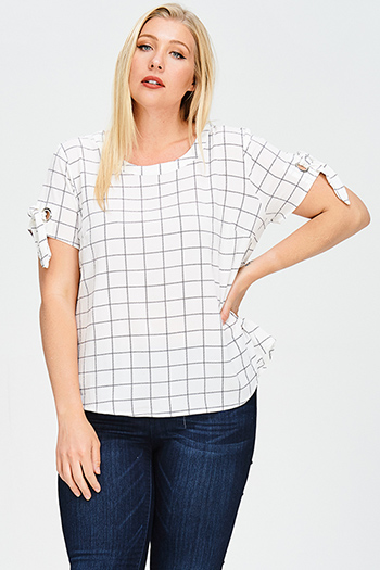 $20 - Cute cheap chiffon sheer top - plus size white checker grid print tie short sleeve boho blouse top