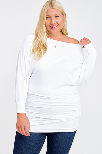 $15 - Cute cheap black ribbed knit long dolman sleeve surplice faux wrap belted sweater mini dress - Plus size white off shoulder long dolman sleeve ruched fitted sexy club mini dress