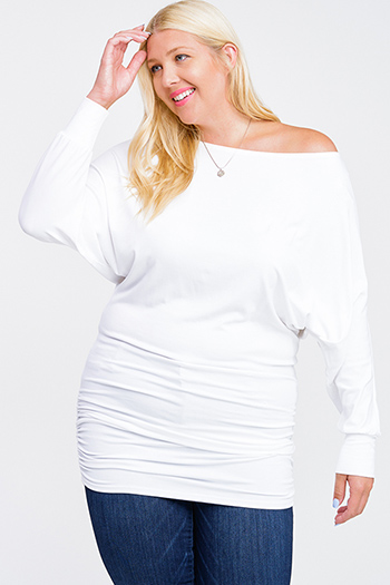 $20 - Cute cheap boho evening dress - Plus size white off shoulder long dolman sleeve ruched fitted sexy club mini dress