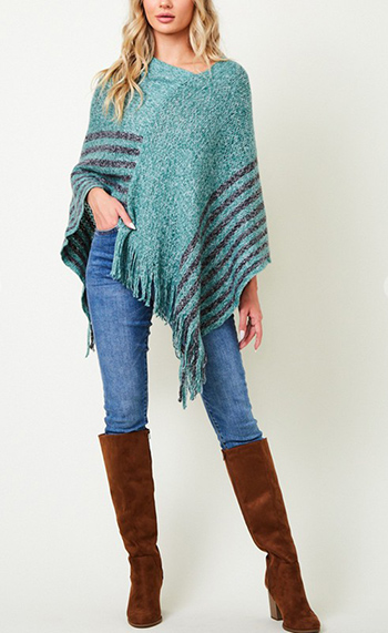 $17.00 - Cute cheap shawl wrap sweater with wide stripe1602854869637 - Poncho Sweater with  Stripe Bottom.