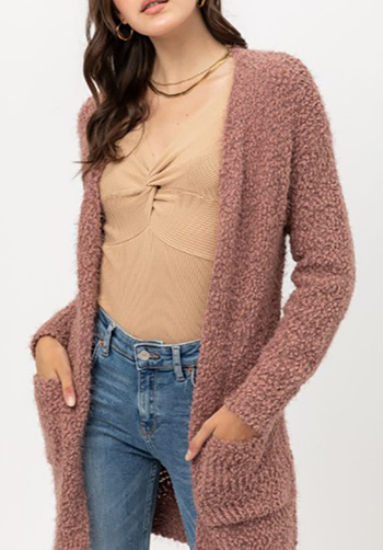 $25.00 - Cute cheap popcorn knit long sleeve open front pocketed boho fuzzy sweater cardigan