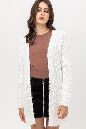 $25 - Cute cheap boho - popcorn knit long sleeve open front pocketed boho fuzzy sweater cardigan
