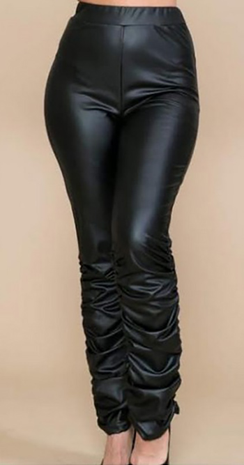 $22.00 - Cute cheap fall - PU faux leather ruched seam leggings pants