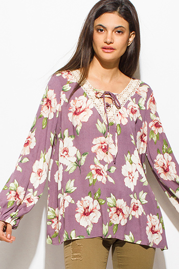 $15 - Cute cheap chiffon sheer top - purple floral print crochet v neck laceup tie front long sleeve boho blouse top