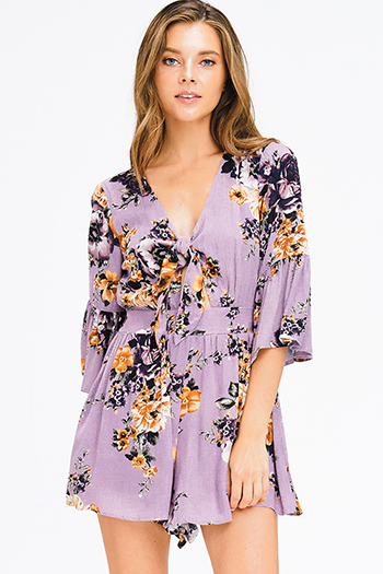$20 - Cute cheap yellow black floral print sheer mesh off shoulder long trumpet bell sleeve crop top - purple floral print long bell sleeve knot front boho romper playsuit jumpsuit