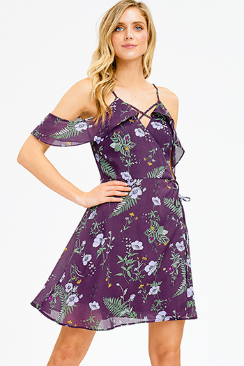 $15 - Cute cheap satin bejeweled evening dress - purple floral print ruffle flutter off shoulder caged front faux wrap boho cocktail sexy party mini sun dress