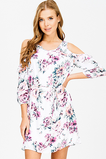 $15 - Cute cheap backless bejeweled cocktail dress - purple floral print ruffle trim cold shoulder quarter sleeve tie waist boho shift mini dress