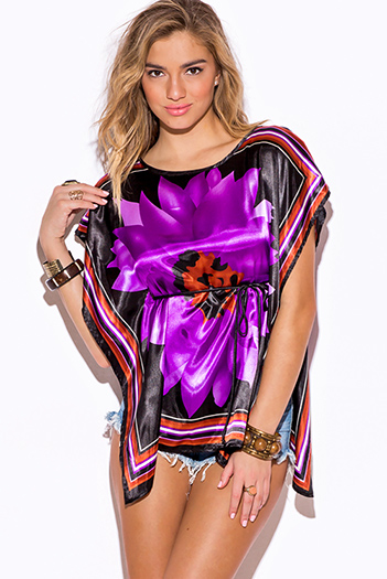 $7 - Cute cheap off shoulder boho tunic - purple flower scarf print silky boho kimono tunic top