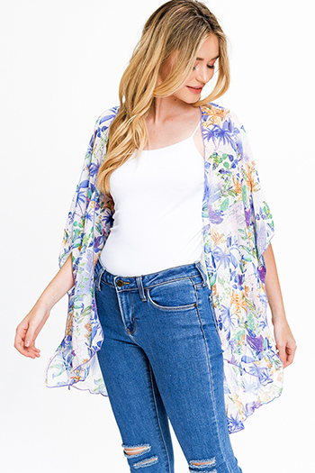 $15 - Cute cheap navy blue sweater knit ethnic print fringe trim boho shawl poncho cardigan jacket - Purple multicolor floral print sheer chiffon short sleeve tie front boho kimono top