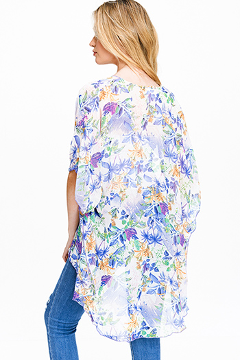 $15 - Cute cheap navy blue long sleeve exposed stitch pocketed open front sweater cardigan - Purple multicolor floral print sheer chiffon short sleeve tie front boho kimono top