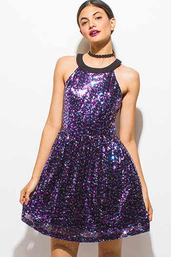 $12 - Cute cheap backless fitted midi dress - purple multicolor sequined halter a line caged backless cocktail party sexy club mini dress
