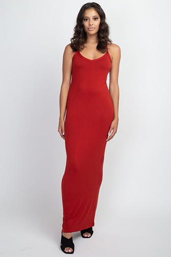 $19.50 - Cute cheap Rust Red Racer Back Maxi Dress