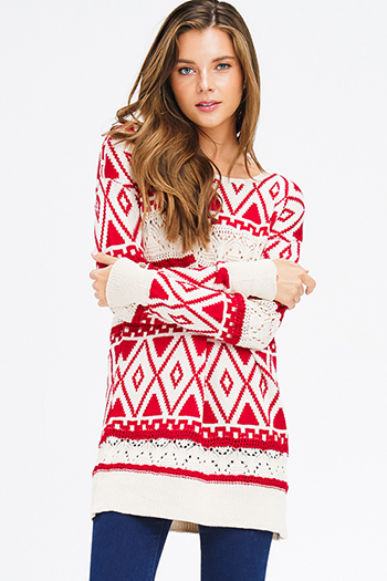 $15 - Cute cheap floral sheer evening dress - red and beige ethnic print crochet knit long sleeve boho tunic mini dress sweater top