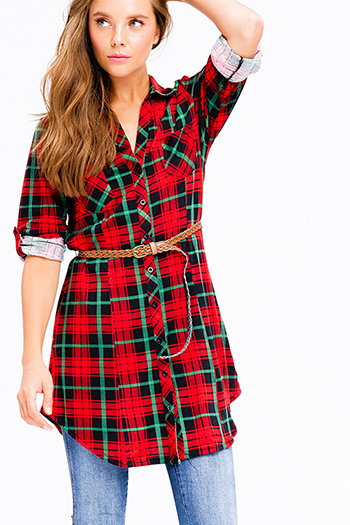 $20 - Cute cheap ribbed fitted bodycon dress - red and green plaid v neck button up long sleeve belted tunic mini shirt dress