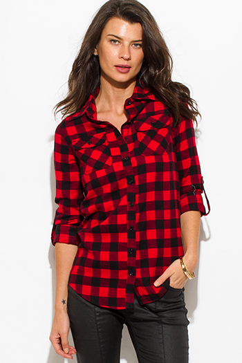 $10 - Cute cheap charcoal gray denim sweater knit long sleeve crop button up jean jacket top - red black checker plaid flannel long sleeve button up blouse top