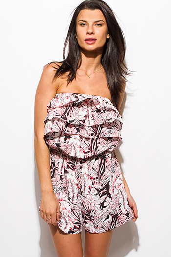 $10 - Cute cheap black chiffon sexy party jumpsuit - red black tropical floral print strapless tiered ruffle boho beach cover up romper playsuit jumpsuit