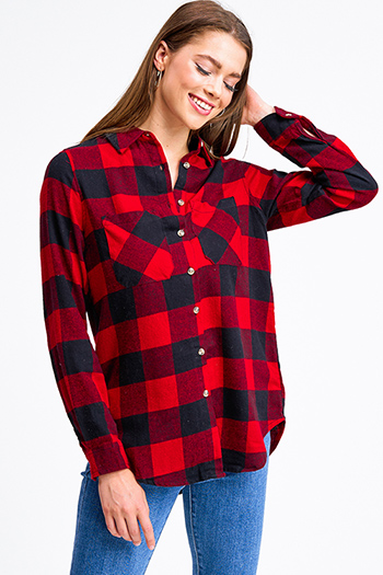 $20 - Cute cheap rust red thermal knit long sleeve crop boho button up top - Red buffalo check plaid long sleeve button up flannel top