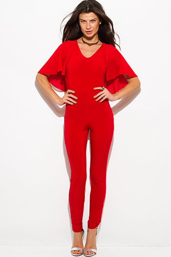 $25 - Cute cheap satin pocketed evening jumpsuit - red butterfly flutter ruffle sleeve v neck cape keyhole back tie bodycon fitted sexy clubbing catsuit jumpsuit