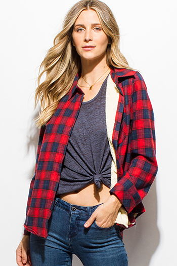$15 - Cute cheap stone gray long sleeve exposed stitch zip up hooded pocketed boho jacket top - red navy blue checker plaid fleece lined long sleeve button up flannel top