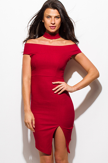 $15 - Cute cheap slit wrap party dress - red choker cut out mock neck off shoulder front slit pencil fitted bodycon mini sexy club dress