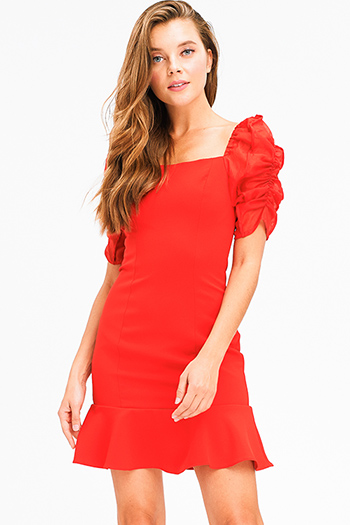 $15 - Cute cheap coral sexy party dress - Red crepe chiffon ruched bubble short sleeve ruffle hem fitted cocktail party mini dress