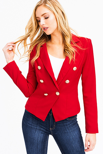 $18 - Cute cheap open back fitted sexy party catsuit - red double breasted long sleeve golden button fitted blazer jacket