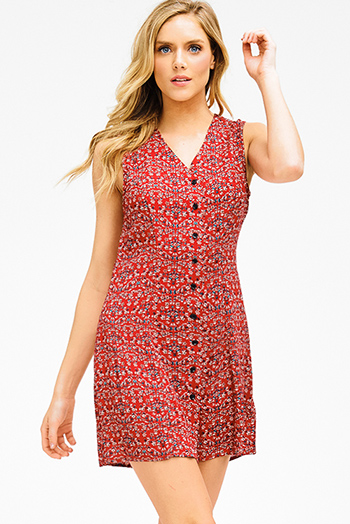 $15 - Cute cheap fitted cocktail mini dress - red floral print v neck sleeveless button up a line skater boho mini shirt dress