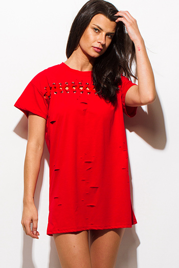 $15 - Cute cheap red lace sexy club dress - red laser cut distressed eyelet laceup short sleeve tee shirt tuni mini club dress
