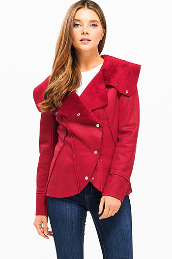 $35 - Cute cheap burgundy red plaid print floral embroidered long sleeve crop blouse top - Red long sleeve faux suede fleece faux fur lined button up coat jacket