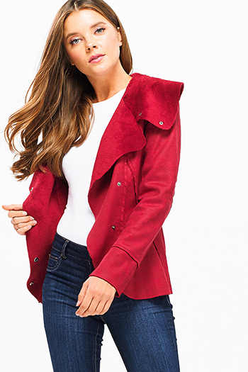 $25 - Cute cheap green pocketed coat - Red long sleeve faux suede fleece faux fur lined button up coat jacket