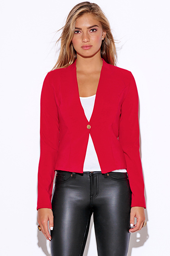 $15 - Cute cheap dark navy blue golden button long sleeve fitted peplum blazer jacket top - red long sleeve fitted collarless suiting blazer