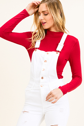 $10 - Cute cheap rust brown and white ribbed boat neck color block long dolman sleeve sweater top - Red long sleeve fitted mock neck basic knit top
