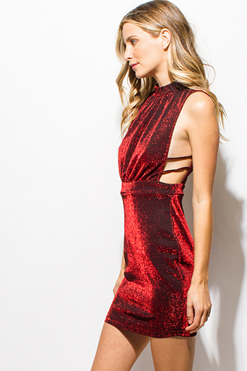 $15 - Cute cheap baroque open back dress - red metallic halter mock neck sleeveless caged cut out keyhole back bodycon sexy club mini dress