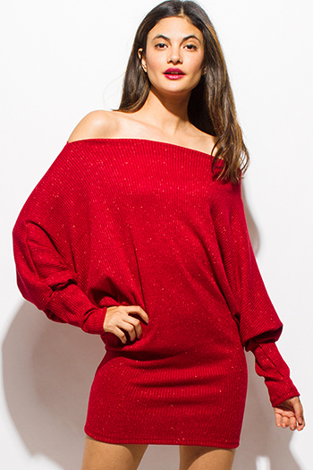 $25 - Cute cheap dress sale - red metallic lurex off shoulder long dolman sleeve ribbed sweater tunic sexy club mini dress