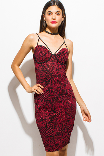 $15 - Cute cheap backless sexy club dress - red metallic shimmer abstract print caged sweetheart bustier bodycon fitted club party midi dress