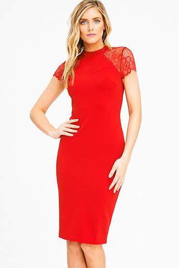 $15 - Cute cheap lace backless cocktail dress - red mock neck cap sleeve sheer lace pencil bodycon fitted sexy club midi dress