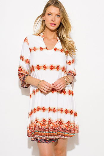 $15 - Cute cheap white ruched dress - red white multicolor abstract ethnic print indian collar tunic boho mini dress
