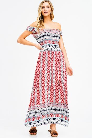 $15 - Cute cheap babydoll cocktail midi dress - red multicolor ethnic print smocked off shoulder resort boho maxi sun dress