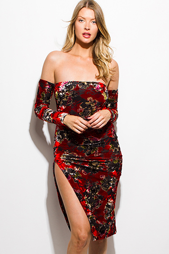 $15 - Cute cheap red multicolor floral print velvet long sleeve off shoulder side slit bodycon fitted sexy club midi dress
