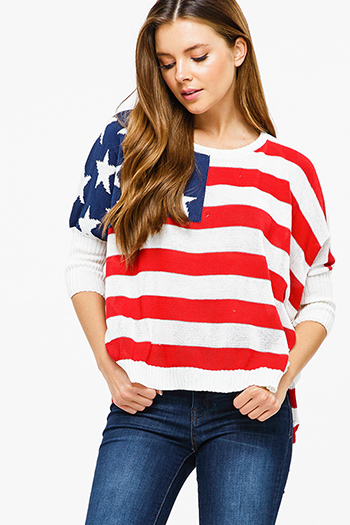 $15 - Cute cheap light blue tencel embroidered off shoulder short sleeve frayed hem boho crop top - Red multicolor striped knit quarter sleeve american flag boho sweater top