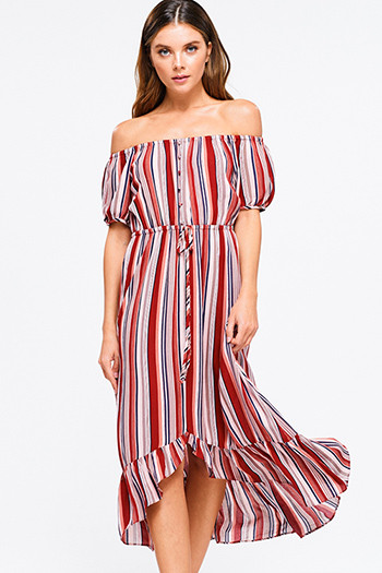 $20 - Cute cheap red boho sun dress - Red multicolor striped off shoulder tie waist high low ruffle hem boho maxi sun dress