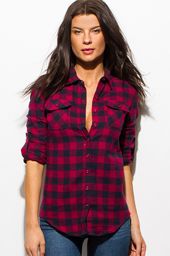 $15 - Cute cheap one shoulder boho top - red navy blue checker plaid flannel long sleeve button up blouse top